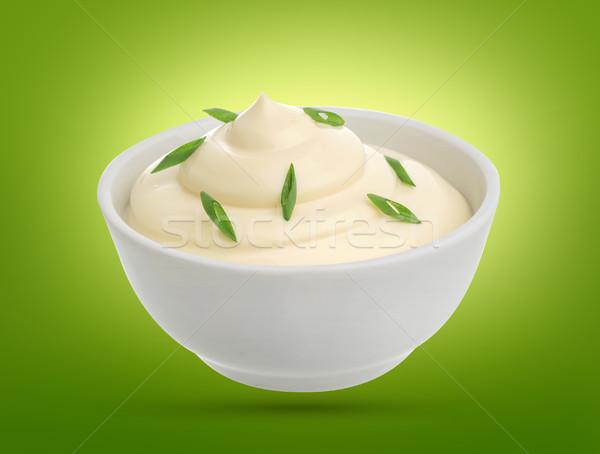 Sour cream with onion isolated Stock photo © xamtiw
