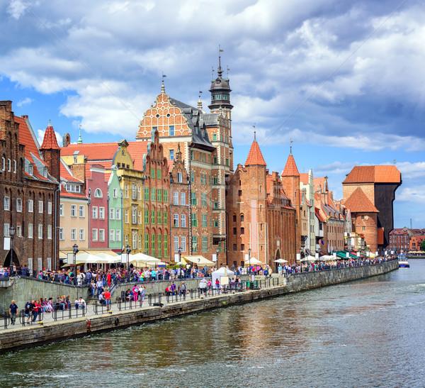 Gdansk nehir Polonya evler Stok fotoğraf © Xantana