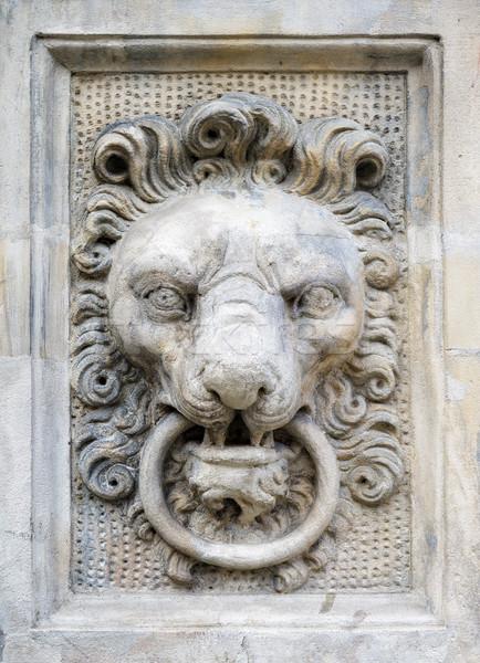 Stone lion head on a wall Stock photo © Xantana
