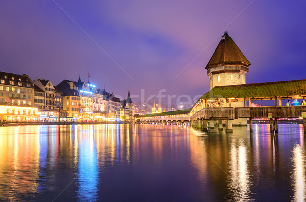 Lucerne, Switzerland, night view of Old Town Stock photo © Xantana