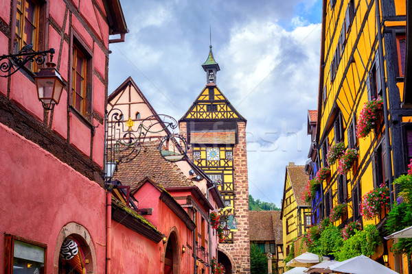 Colorful houses on a central street in Riquewihr, village on win Stock photo © Xantana