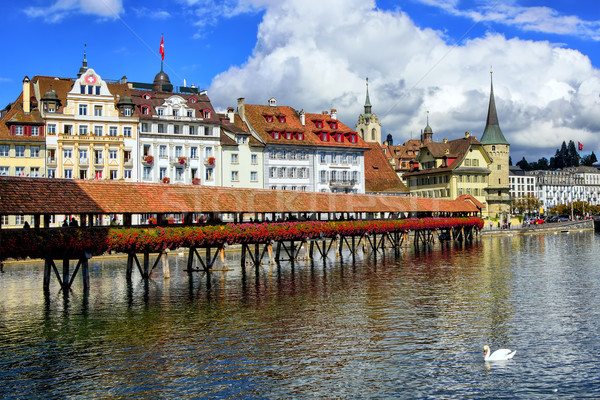Chapel Bridge in the old town of Lucerne, Switzerland Stock photo © Xantana