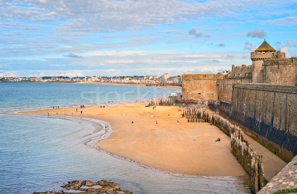 Atlantic beach under the towers of city walls in St Malo, Britta Stock photo © Xantana
