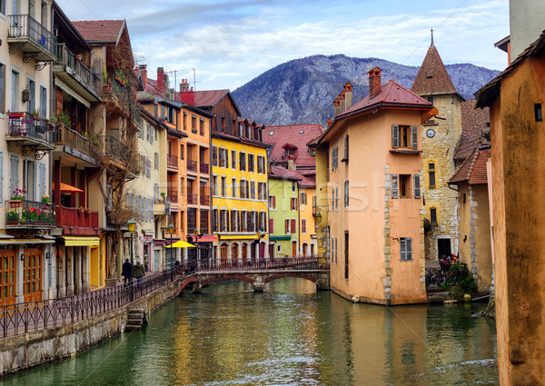 Medieval old town and Thiou river, Annecy, Savoy, France Stock photo © Xantana