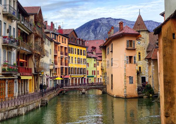 Középkori óváros folyó Franciaország torony kastély Stock fotó © Xantana