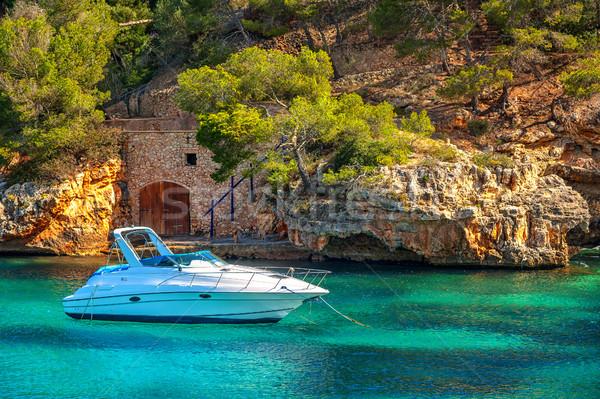 Beautiful white yacht in harbor of Cala Figuera, Mallorca, Spain Stock photo © Xantana