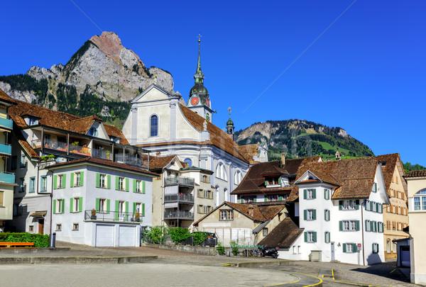 The little town of Schwyz in central Switzerland Stock photo © Xantana