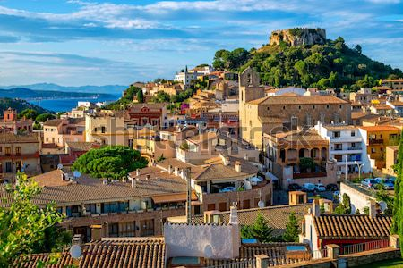 Ortaçağ kale kasaba İspanya başvurmak Stok fotoğraf © Xantana