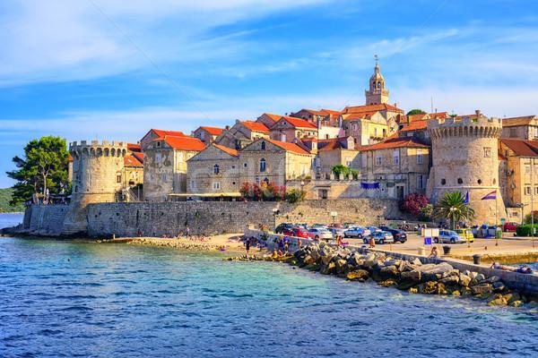 Barrio antiguo Croacia histórico ciudad isla mar Foto stock © Xantana