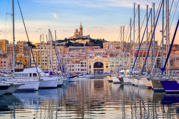 Yachts in the Old Port of Marseilles, France Stock photo © Xantana