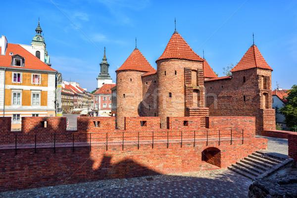 Rood baksteen muren historisch fort Stockfoto © Xantana