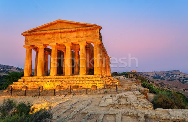 Templo sicília Itália antigo grego vale Foto stock © Xantana