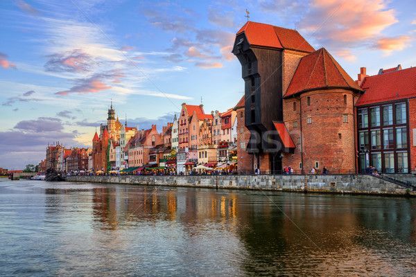 The Crane and gothic old town on sunset, Gdansk, Poland Stock photo © Xantana