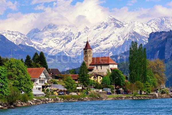 Brienz town, Interlaken and snow covered Alps mountains, Switzerland Stock photo © Xantana