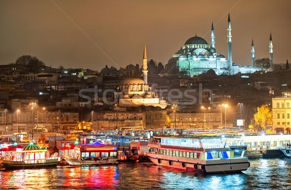 Stock fotó: Isztambul · éjszaka · sziluett · híd · arany · duda