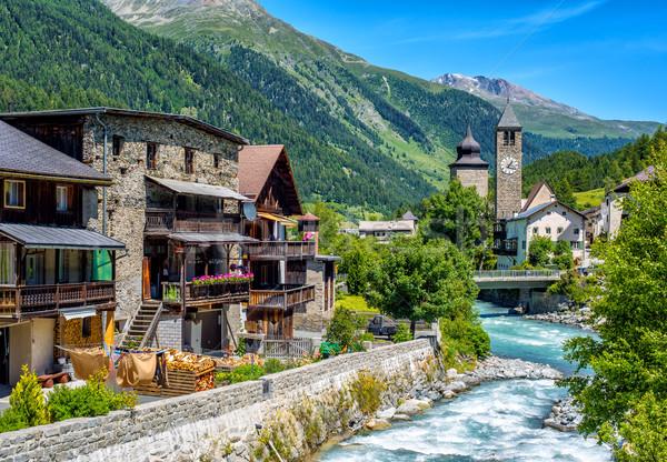 Dorf Alpen Berge inn Fluss Haus Stock foto © Xantana