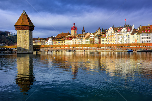 Chapel Bridge and Old Town Lucerne, Switzerland Stock photo © Xantana