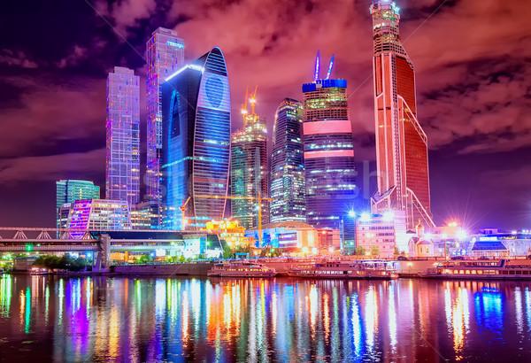 ночному городу Небоскребы город Финансовый район ночь время Сток-фото © Xantana