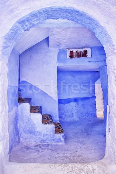 Tradicional azul pintado casa Marruecos entrada Foto stock © Xantana
