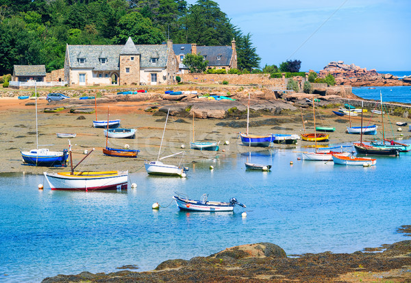 Stone house and fishermen's boat in Brittany, France Stock photo © Xantana