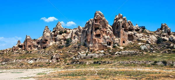 Cave town in Cappadocia, famous tourist destination in central Turkey Stock photo © Xantana