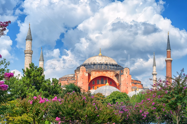 Hagia Sophia and minarets, Istanbul, Turkey Stock photo © Xantana