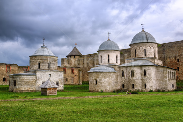 Orhtodox churches inside Ivangorod Fortress, Russia Stock photo © Xantana