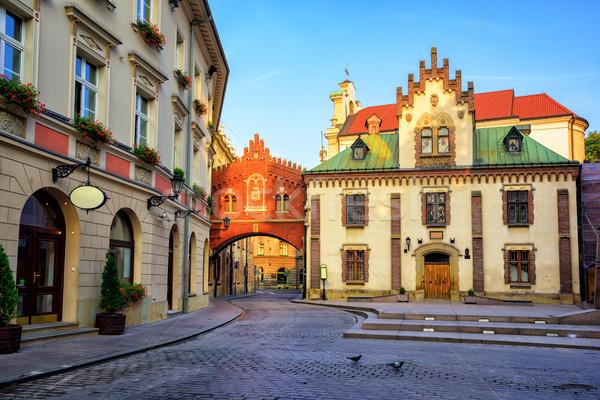 Küçük sokak krakow Polonya Gotik Stok fotoğraf © Xantana