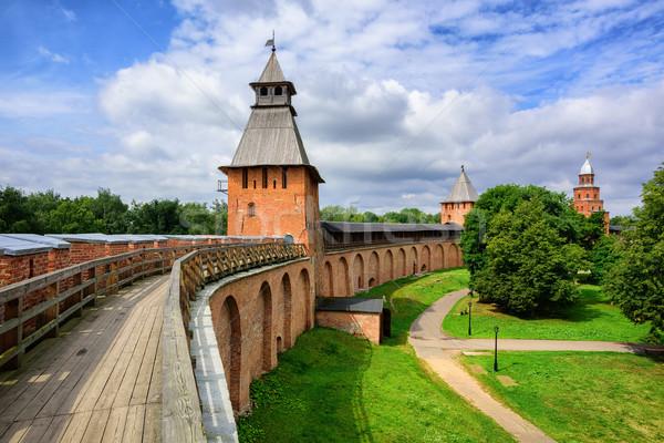 Red brick walls and towers of Novgorod, Russia Stock photo © Xantana