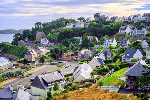 Cottages in Perros-Guirec, Brittany, France Stock photo © Xantana