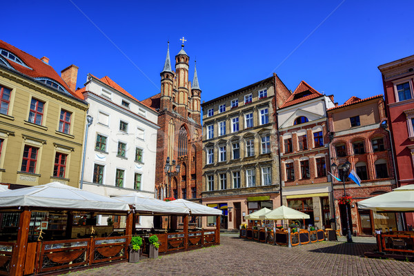 Gothic facades on the central square in Torun, Poland Stock photo © Xantana