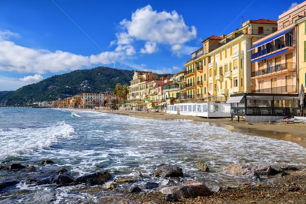 Mediterranean beach in touristic town Alassio on italian Riviera Stock photo © Xantana