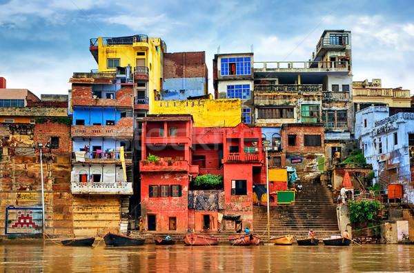 Renkli evler nehir Hindistan karmakarışık bankalar Stok fotoğraf © Xantana
