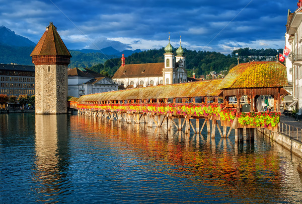 Lucerne, Switzerland, Chapel Bridge, Water Tower, Jesuit Church  Stock photo © Xantana