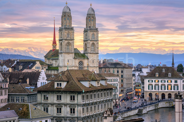 Zurich city center with snow covered Alps mountains in background, Switzerland Stock photo © Xantana