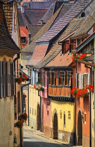 Colorful houses in a street in alcacian village by Colmar, Alsace Stock photo © Xantana
