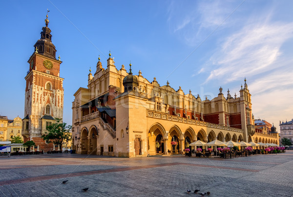 Drap salle cracovie ville Pologne mairie Photo stock © Xantana
