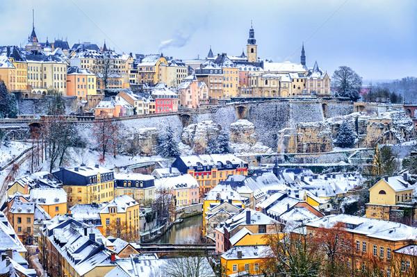 Miasta śniegu biały zimą Europie starówka Zdjęcia stock © Xantana