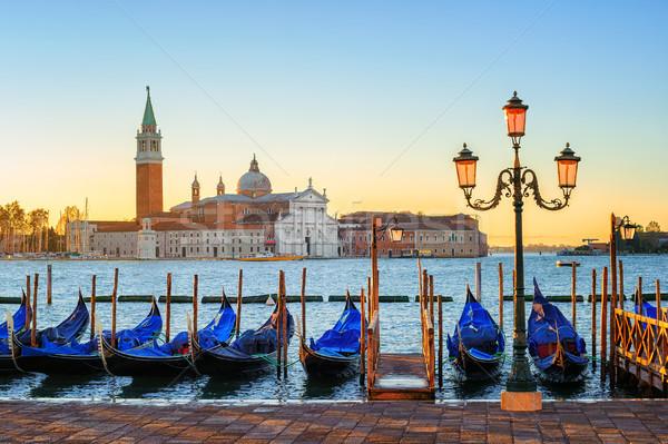 Gondolas and San Giorgio Maggiore island, Venice, Italy Stock photo © Xantana