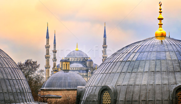 Domes of Blue Mosque in Istanbul, Turkey, on sunset Stock photo © Xantana