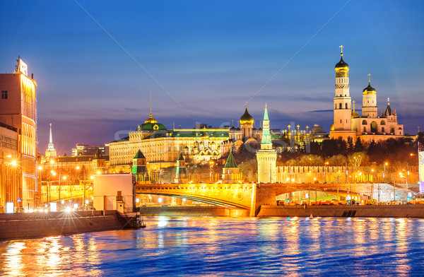 Moscow Kremlin glowing in the evening light over Moskva River, R Stock photo © Xantana