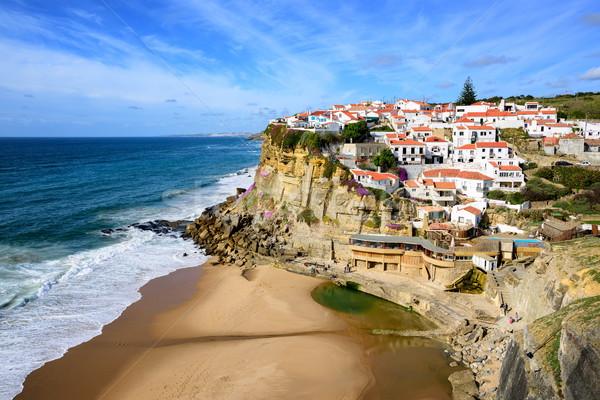 Kicsi falu Portugália part tengerpart ház Stock fotó © Xantana