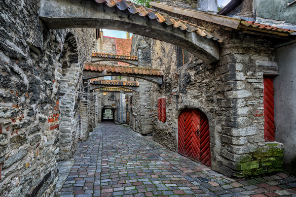 Old cobbled street in old town of Tallinn, Estonia Stock photo © Xantana