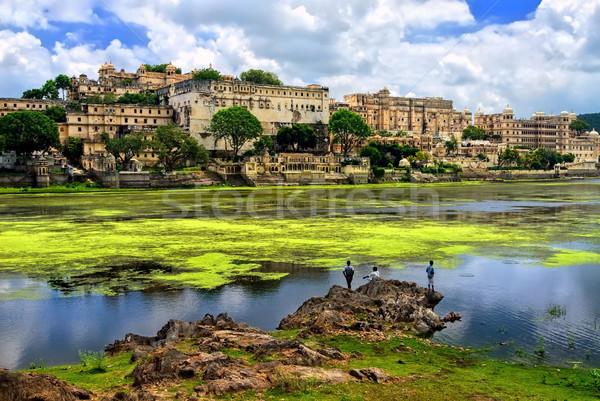 Stad paleis meer water Blauw Stockfoto © Xantana