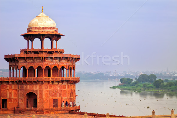 Red tower of Taj Mahal complex in Agra, India Stock photo © Xantana