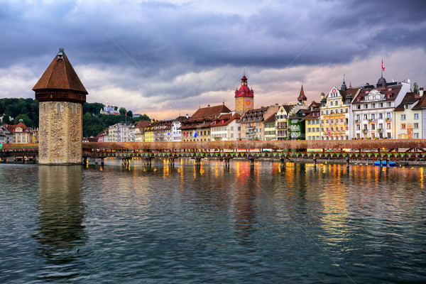 Lucerne old town on dramatic sunset, Switzerland Stock photo © Xantana