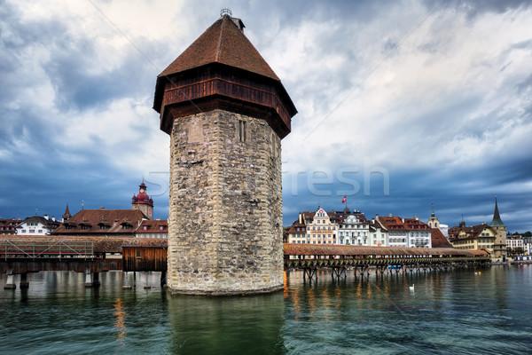 Agua torre barrio antiguo capilla puente cielo Foto stock © Xantana