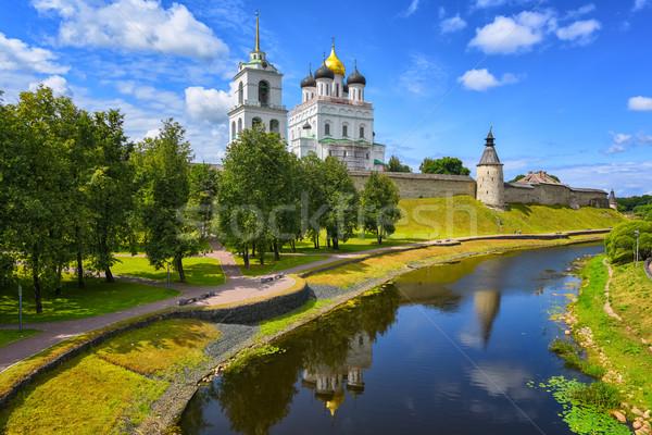 Pskov Kremlin reflecting in a river, Pskov, Russia Stock photo © Xantana