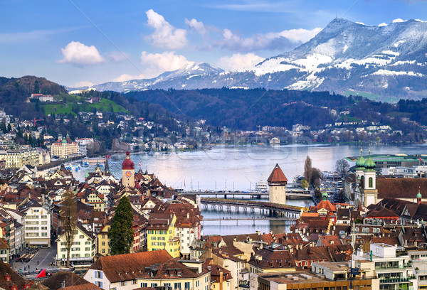 Lucerne, Switzerland, aerial view of the old town, lake and Rigi Stock photo © Xantana
