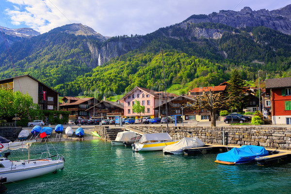 Pequeño ciudad lago Suiza alpes montanas Foto stock © Xantana